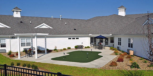 Outdoor putting green at Covington Skilled Nursing & Rehabilitation